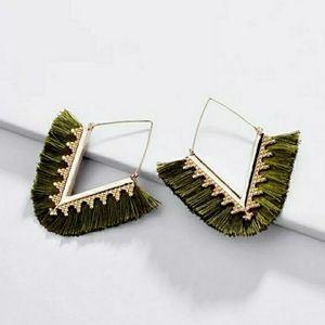 New Olive Green Gold Fringe Triangle Earrings
